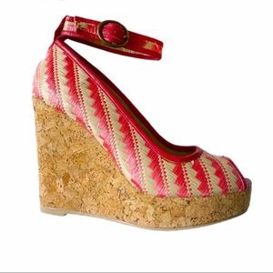 Joyfolie Alma Tangelo Peep Toe Cork Wedge Sandals